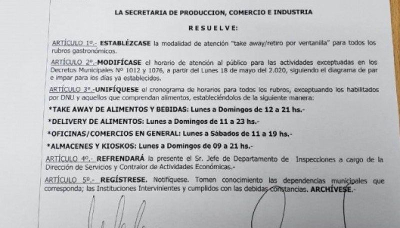 Decreto Municipalidad Río Gallegos.