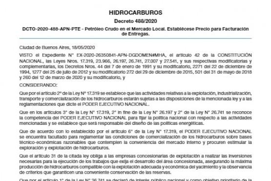 Decreto Nacional. Barril Criollo