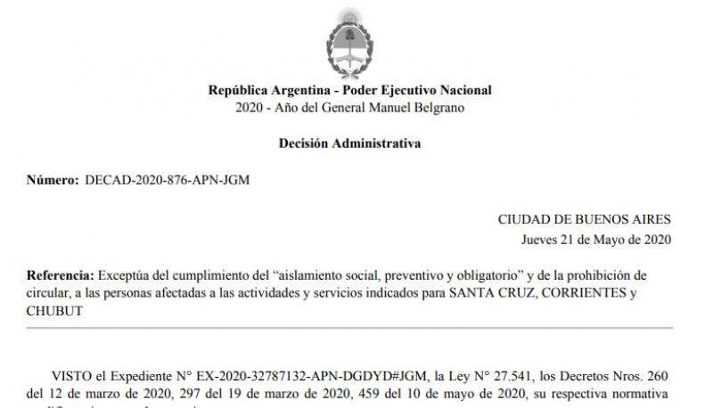 Decisión Administrativa DECAD 2020-876 de la Jefatura de Gabinete de Ministros de la Nación.