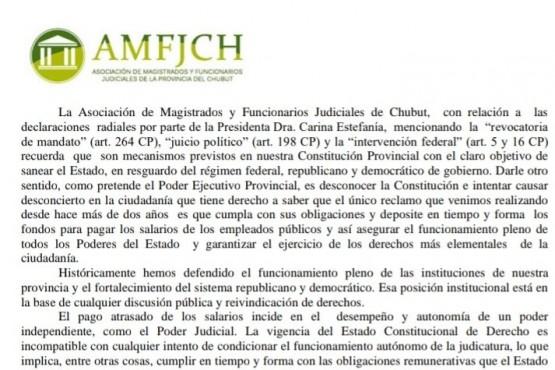Comunicado de la Asociación de Magistrados y Funcionarios Judiciales