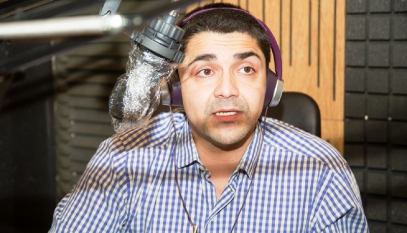 Ministro de Seguridad, Lisandro De la Torre, en el piso de Tiempo FM. (Foto: C.G.)