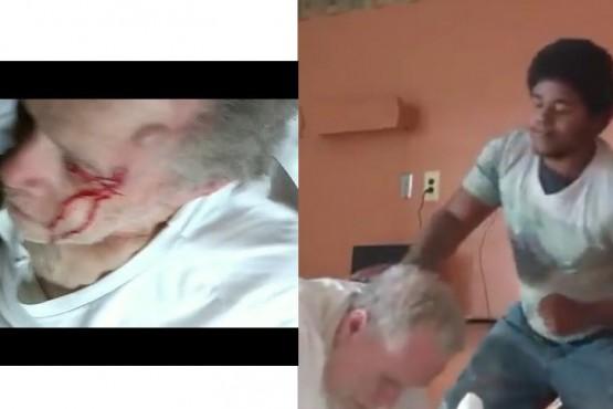 Captan a un terapeuta golpeando brutalmente a un abuelo