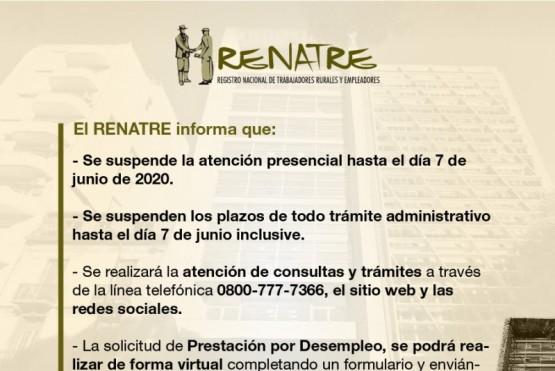 El RENATRE extiende la atención a distancia hasta el 7 de junio