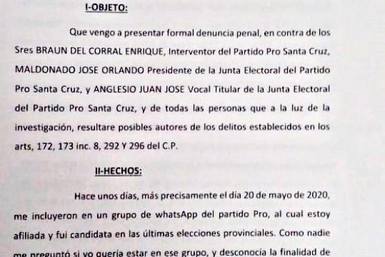 Denuncia penal presentada ayer ante el fiscal Candia.