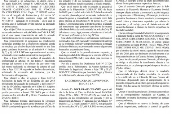 Extracto del Boletín Oficial donde se anuncia la cesantía.