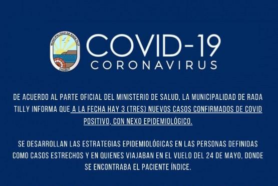 Coronavirus: Se confirmaron tres nuevos casos positivos