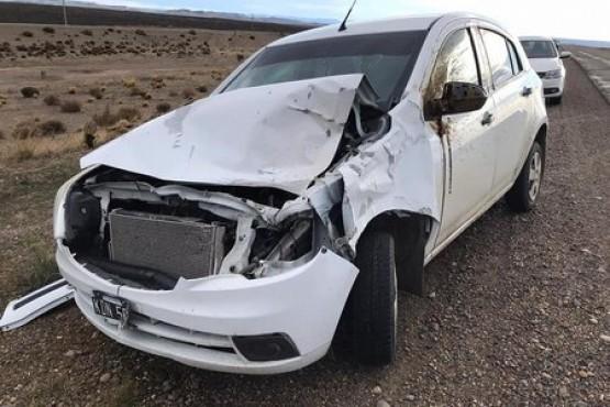 Salvó su vida de milagro al impactar el auto contra un guanaco