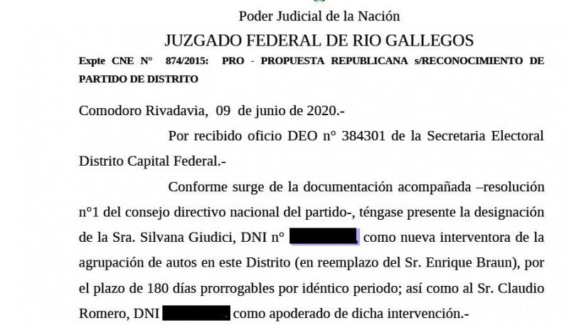 Notificación que recibió el Juzgado Federal de Río Gallegos sobre la resolución de la jueza Servini.
