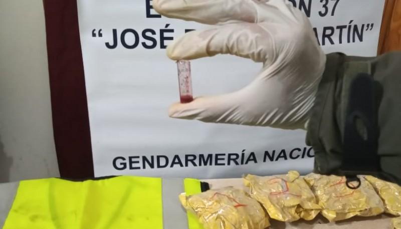Gendarmeria realizó el test que comprobó la sustancia.