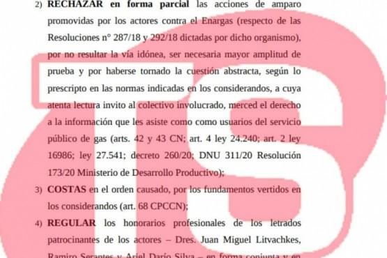 Yáñez hizo lugar al amparo presentado por tarifa de gas licuado