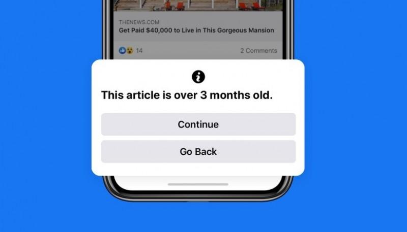 Facebook avisará a los usuarios si la fecha del artículo a compartir tiene más de 90 días
