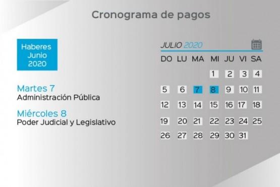 Cronograma de pago de haberes del Estado Provincial