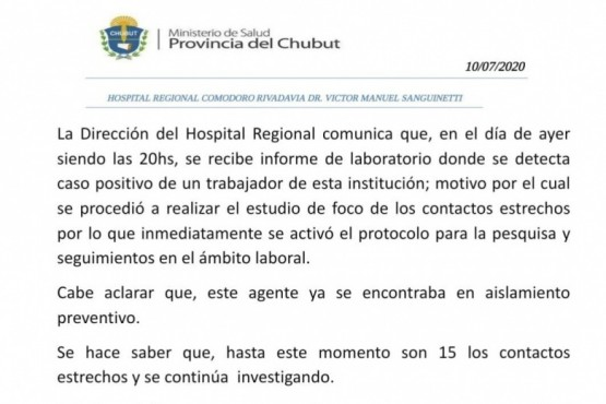 El Hospital Regional comunicó un nuevo caso positivo