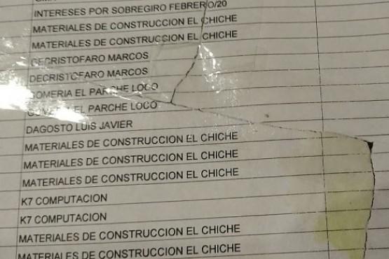 Documentos que habrían sido destruidos antes del allanamiento.