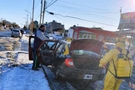 Desinfectaron paradas de taxis, zona céntrica y el Correo Argentino