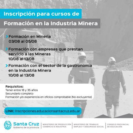 Cursos de Formación en la Industria Minera: Anuncian el cronograma de inscripciones