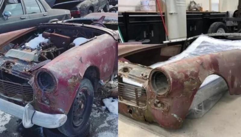Compró un auto viejo y usado para transformarlo en una cama para su hijo