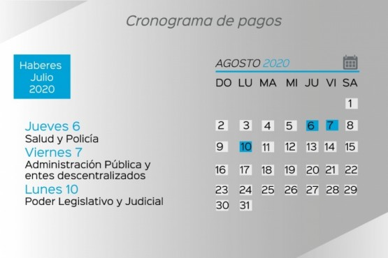 Mirá el cronograma de pago de haberes del Estado Provincial