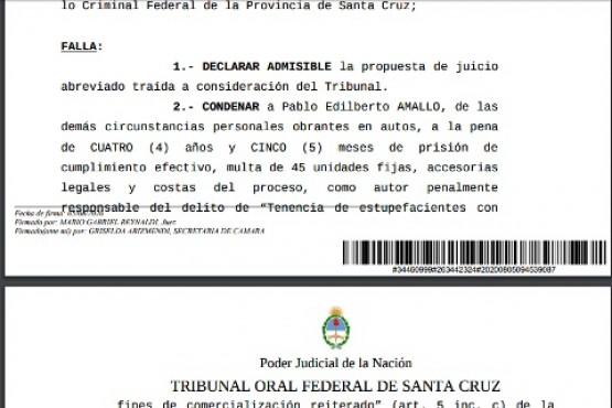 Extracto de la sentencia condenatoria del Tribunal Oral Federal.