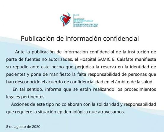 El comunicado del SAMIC tras viralizarse el listado de los pacientes positivos