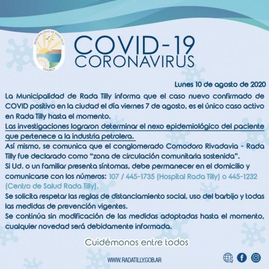 Comodoro con circulación comunitaria y Rada Tilly con un caso activo de Coronavirus