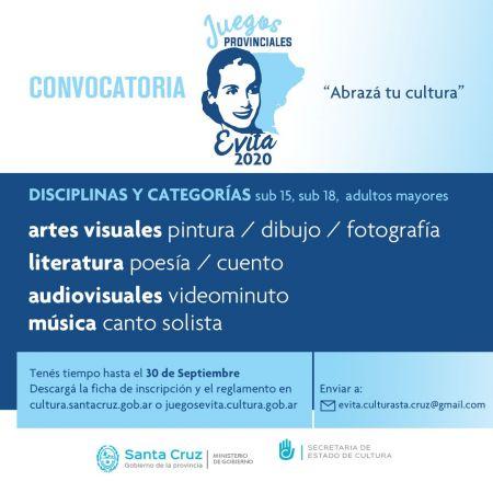 Juegos Culturales Evita: Convocatoria abierta hasta el 30 de septiembre