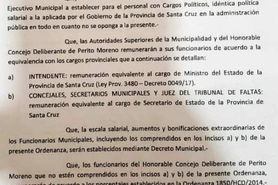 Proyecto que aumentó los sueldos, aprobado por los ediles de Perito Moreno.