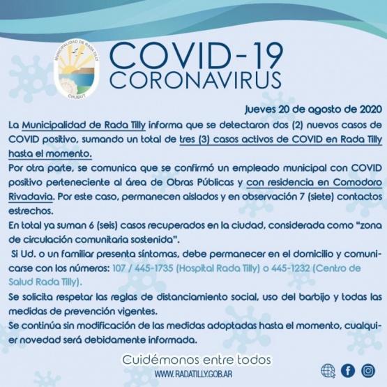 Municipio informó de dos nuevos casos positivos de Coronavirus