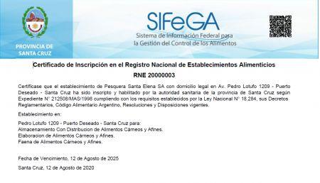Otorgaron la primera certificación de inscripción en el Registro Nacional de Establecimiento