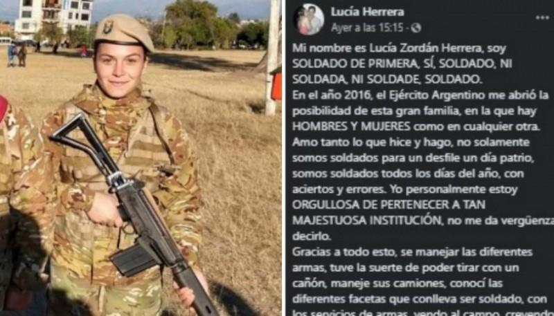 La militar y su carta en Facebook.