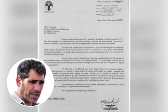 Cristian Bazán solicitó que le devuelvan la banca de concejal en 48 horas