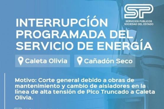 Mañana habrá corte de energía en Caleta Olivia y Cañadón Seco