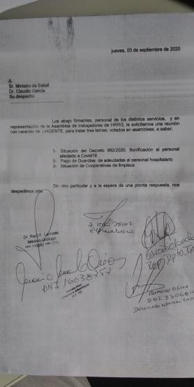 Autoconvocados piden una reunión urgente con el nuevo Ministro de Salud