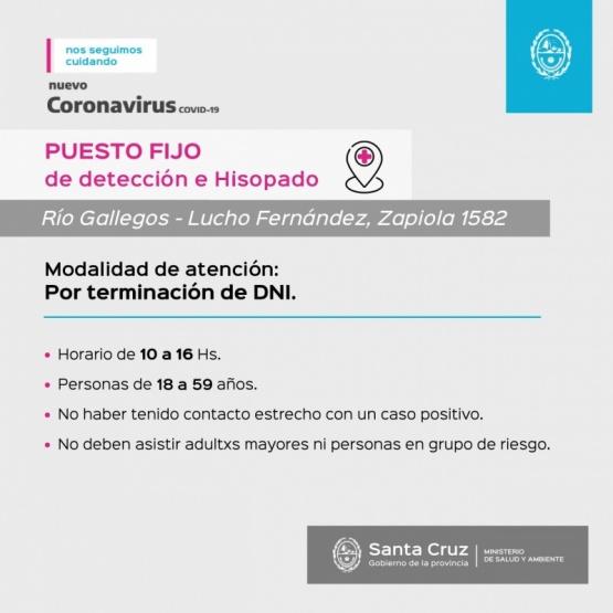 Puesto Fijo de Detección: Desde mañana funcionará en el Gimnasio Municipal Lucho Fernández