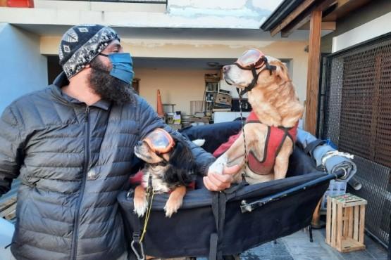 De México a Río Gallegos: Fink junto a sus perras espera seguir su viaje por el mundo