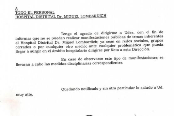 Hospital: En caso de que se hagan manifestaciones públicas, el personal sería sancionado