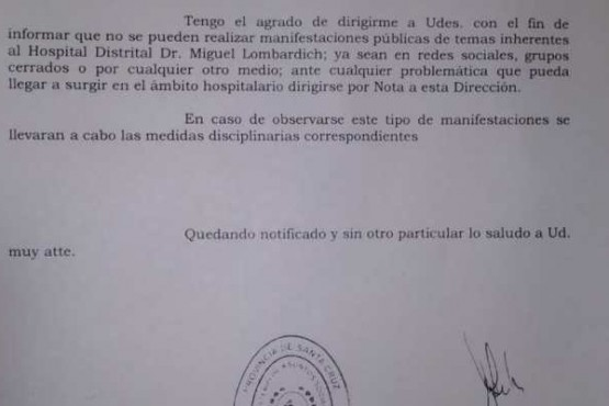 Por prohibir manifestaciones públicas, ATE pide que se retracte el Hospital de San Julián