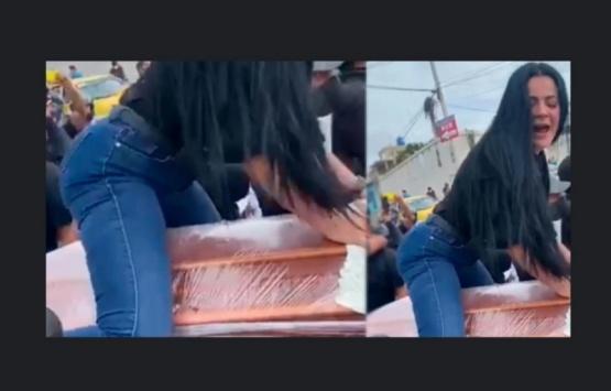 Una mujer bailó reggaetón sobre el ataúd de su esposo