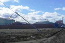 Caen los postes y se quiebran los árboles en Río Gallegos
