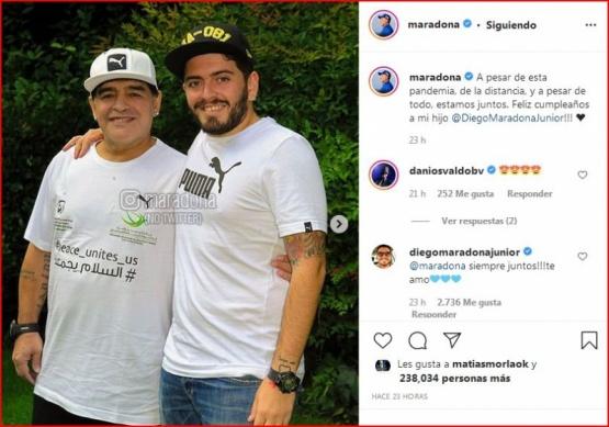 Maradona saludó a su hijo Diego Junior por su cumpleaños