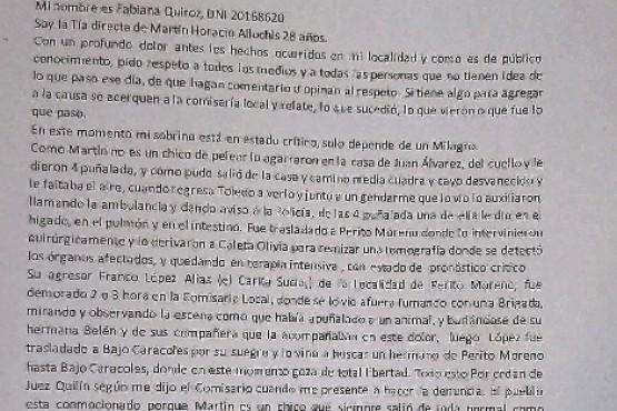 Nota que escribió la tía de Martín Allochis.