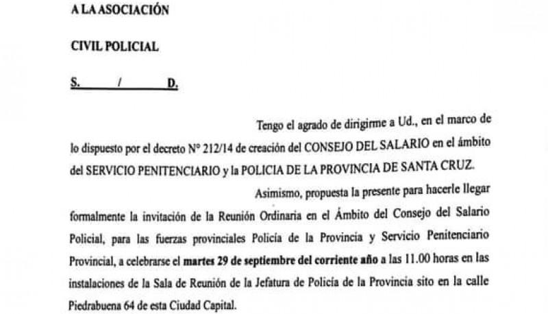 Misiva enviada por el Ministro de Seguridad a los representantes policiales.