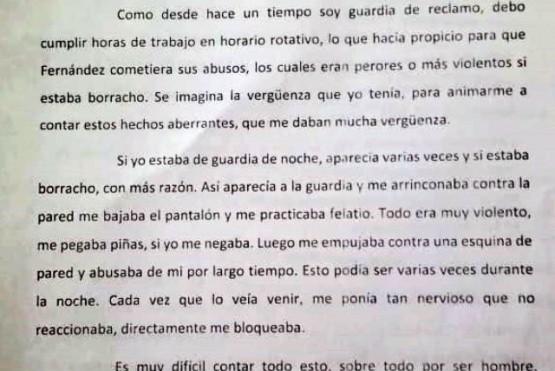 Extracto de la denuncia presentada ante la Fiscalía, a cargo del Dr. Ariel Candia.