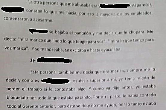 Extracto de la denuncia penal del trabajador.
