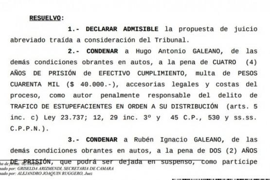Extracto de la sentencia condenatoria.