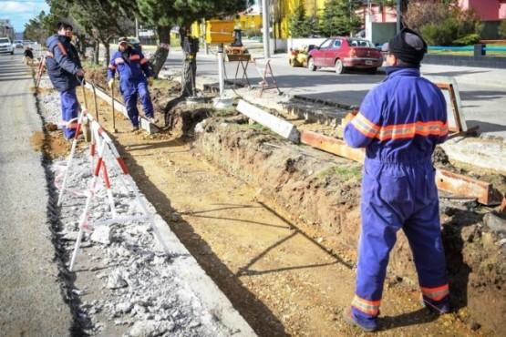 Trabajos en la Avenida San Martín.