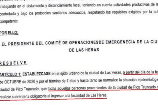 En Las Heras no podrán ingresar vecinos de Pico Truncado sin hacer aislamiento por 7 o 14 días