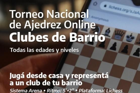 """Inscripción abierta para el Torneo Nacional de Ajedrez online """"Clubes de Barrio"""""""