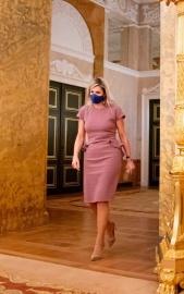El vestido con efecto óptico que Máxima Zorreguieta desempolvó