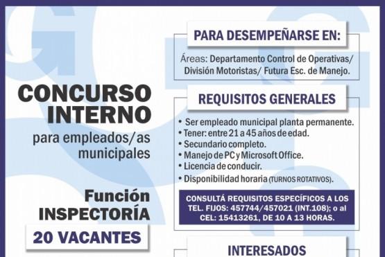 Convocan a concurso interno para trabajadores municipales